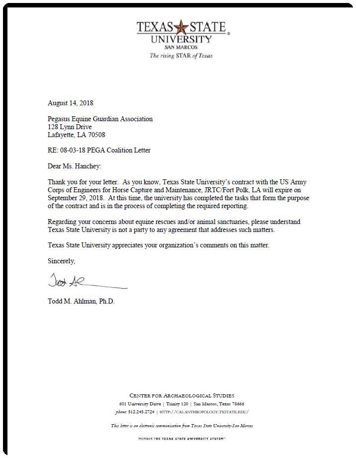 TSU letter response